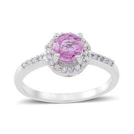 ILIANA 18K W Gold Pink Sapphire (Rnd 0.85 Ct), Diamond Ring 1.000 Ct.