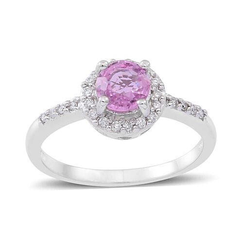 ILIANA 18K W Gold Pink Sapphire (Rnd 0.85 Ct), Diamond Ring 1.000 Ct.