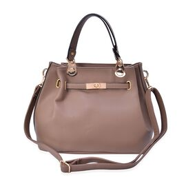 Beige Colour Tote Bag with Adjustable and Removable Shoulder Strap (Size 31.5x24x16 Cm)