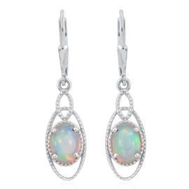 Ethiopian Welo Opal (Ovl) Lever Back Earrings in Platinum Overlay Sterling Silver 1.750 Ct.