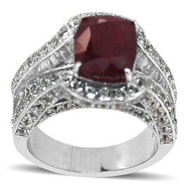 African Ruby (Cush 8.50 Ct), White Topaz Ring in Rhodium Plated Sterling Silver 14.100 Ct.
