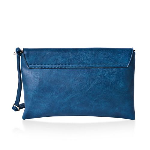 Turquoise Colour Clutch Bag with Adjustable Shoulder Strap (Size 30x20 Cm)