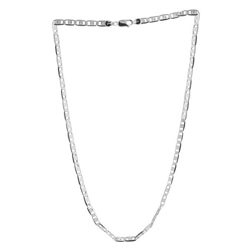 Close Out Deal Rhodium Plated Sterling Silver Valentino Necklace (Size 20), Silver wt 17.00 Gms.