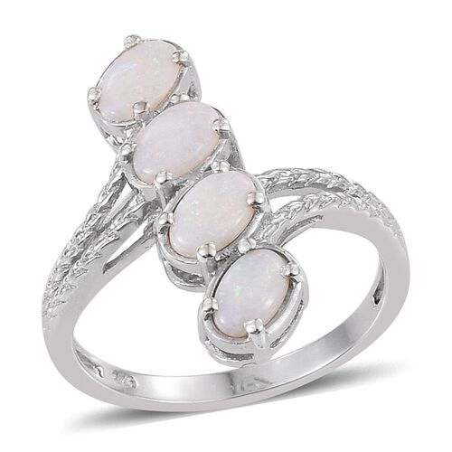 Australian White Opal (Ovl) Ring in Platinum Overlay Sterling Silver 0.750 Ct.