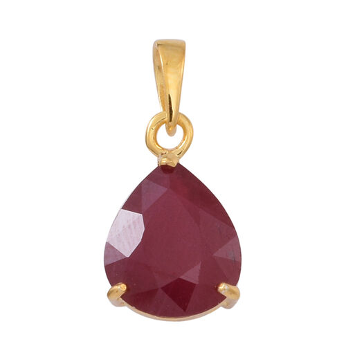 African Ruby (Pear) Solitaire Pendant in 14K Gold Overlay Sterling Silver 5.000 Ct.