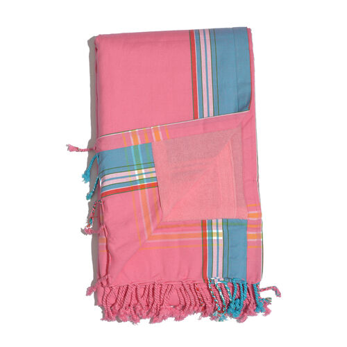 100% Cotton (Front) and 100% Polyester (Back) Pink with Blue Border Kikoy Beach Towel (Size 160x90 Cm) with a Concealed Pocket