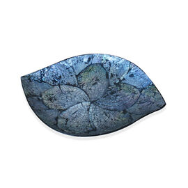 (Option 2) Handmade Leaf Shaped Abalone Shell Inlay Bowl with Black Resin (Size 28x19 Cm)
