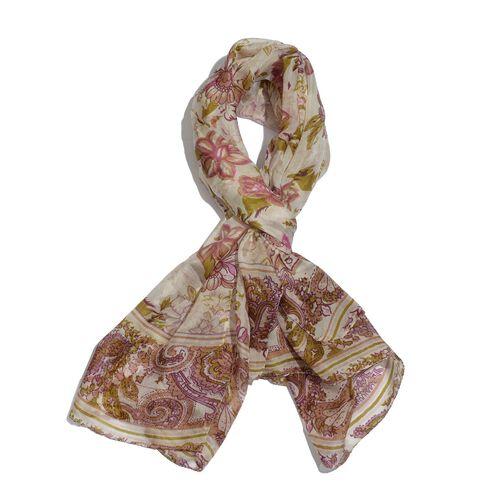 100% Mulberry Silk Multi Colour Floral Pattern Cream Colour Scarf (Size 175x100 Cm)