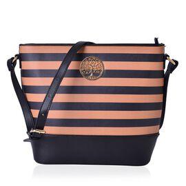 Black and Rose Colour Stripe Pattern Shoulder Bag (Size 32x26x26x11 Cm)