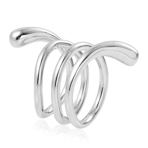LucyQ Coil Midi Ring in Rhodium Plated Sterling Silver 10.81 Gms.