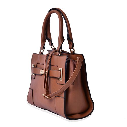 Set of 2 - Chocolate Colour Large Handbag with Adjustable Shoulder Strap and Small Handbag (Size 33.5x29.5x12.5 Cm, 19.5x10 Cm)