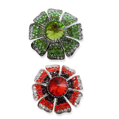 Set of 2 - Simulated Peridot, Simulated Ruby, Red, White and Green Austrian Crystals Floral Charm in Silver Tone