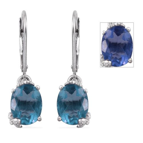 Colour Change Fluorite (Ovl) Lever Back Earrings in Platinum Overlay Sterling Silver 4.500 Ct.