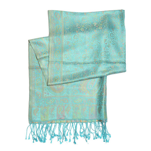 SILK MARK - 100% Superfine Silk Turquoise and Multi Colour Jacquard Scarf with Fringes (Size 180x70 Cm) (Weight 125 - 140 Grams)