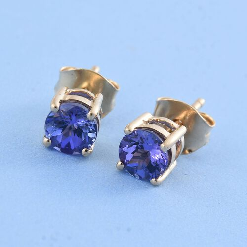 14K Yellow Gold Tanzanite (Rnd) Stud Earrings 1.000 Ct.