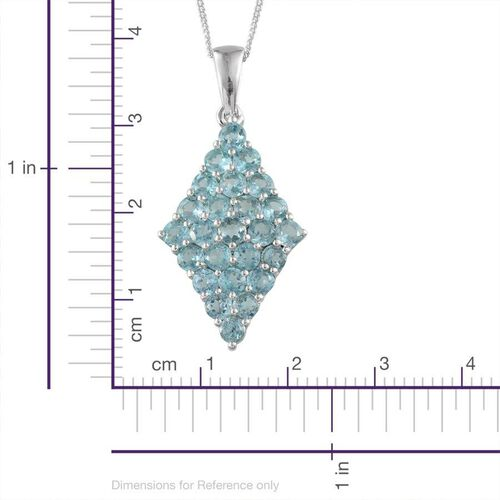 AA Paraibe Apatite (Rnd) Cluster Pendant With Chain in Platinum Overlay Sterling Silver 2.500 Ct.