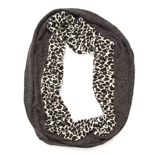 Limited Available-Black, Grey and White Colour Leopard Pattern Infinity Scarf (Size 74x26 Cm)