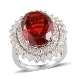 Ruby Quartz (Ovl 11.75 Ct), White Topaz Ring in Platinum Overlay Sterling Silver 14.250 Ct.