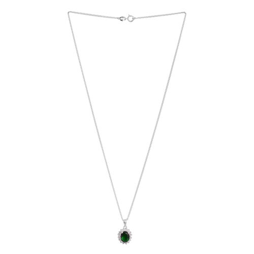 ELANZA AAA Simulated Emerald (Ovl), Simulated Diamond Pendant With Chain in Rhodium Platued Sterling Silver
