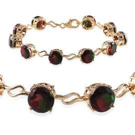 Tourmaline Colour Quartz (Rnd) Bracelet in 14K Gold Overlay Sterling Silver (Size 7) 22.000 Ct.