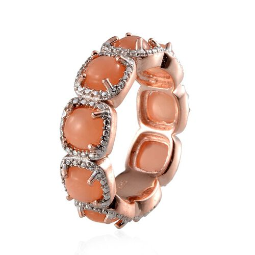 Mitiyagoda Peach Moonstone (Cush), Diamond Full Eternity Ring in Rose Gold Overlay Sterling Silver 9.020 Ct.