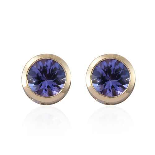 9K Y Gold AA Tanzanite (Rnd) Stud Earrings (with Push Back) 1.000 Ct.