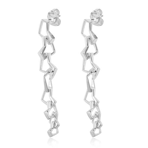 RACHEL GALLEY Sterling Silver Love and Peace Dangle Earrings (with Push Back), Silver wt 15.39 Gms.