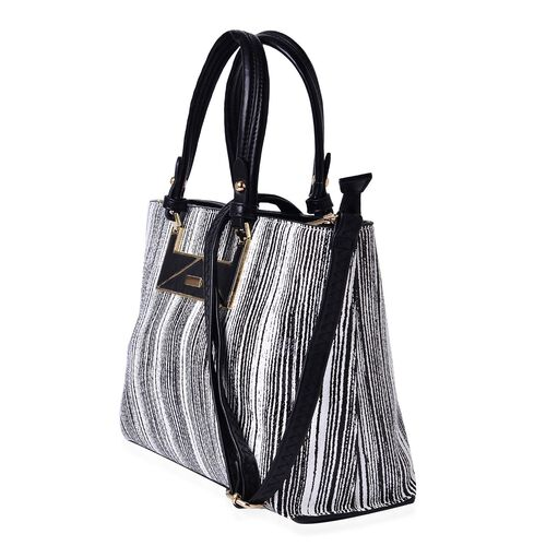 (Option 2) MANHATTAN COLLECTION Noho Stripe Pattern Tote Bag with External Zipper Pocket and Adjustable, Removable Shoulder Strap (Size 31x22.5x12 Cm)