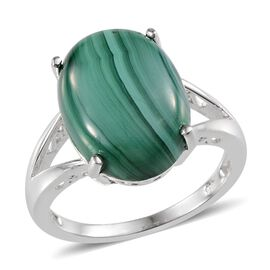 Malachite (Ovl) Solitaire Ring in Sterling Silver 7.750 Ct.