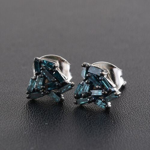 Designer Inspired Limited Edition Blue Diamond Stud Earrings in Platinum Overlay Sterling Silver 0.250 Ct.