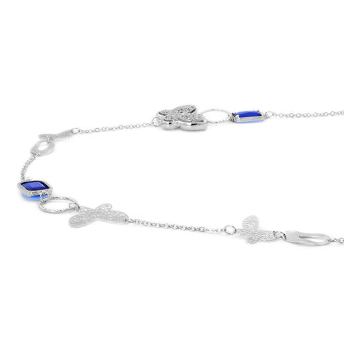 Simulated Tanzanite and White Austrian Crystal Necklace (Size 36) in Silver Tone