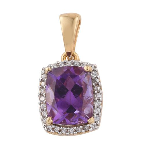 Moroccan Amethyst (Cush 2.75 Ct), Natural Cambodian Zircon Pendant in 14K Gold Overlay Sterling Silver 3.000 Ct.