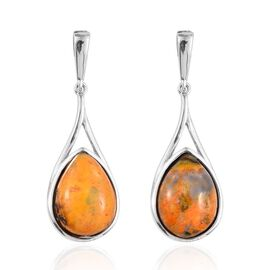 Bumble Bee Jasper (Pear) Earrings (with Push Back) in Platinum Overlay Sterling Silver 10.500 Ct.