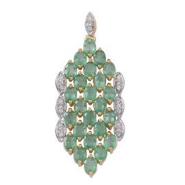 9K Y Gold AAAA Kagem Zambian Emerald (Ovl), Natural Cambodian White Zircon Pendant 3.750 Ct.