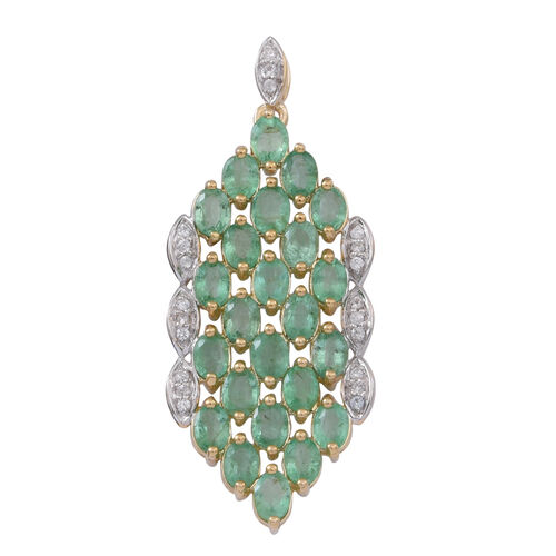 9K Y Gold Kagem Zambian Emerald (Ovl), Natural Cambodian White Zircon Pendant 3.750 Ct.