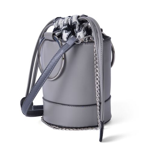 Grey Colour Tote Bag With Removable Shoulder Strap (Size 18x15.5x12.5 Cm)