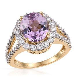 Iliana Kunzite (5.50 Ct) and Diamond 18K Y Gold Ring  6.750  Ct.