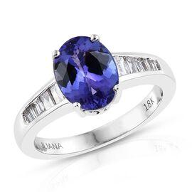 ILIANA 18K W Gold AAA Tanzanite (Ovl 2.00 Ct), Diamond (SI/G-H) Ring 2.250 Ct.