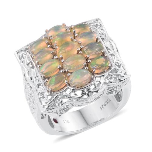 Royal Jaipur Ethiopian Welo Opal (Ovl), Burmese Ruby Ring in Platinum Overlay Sterling Silver 4.020 Ct.