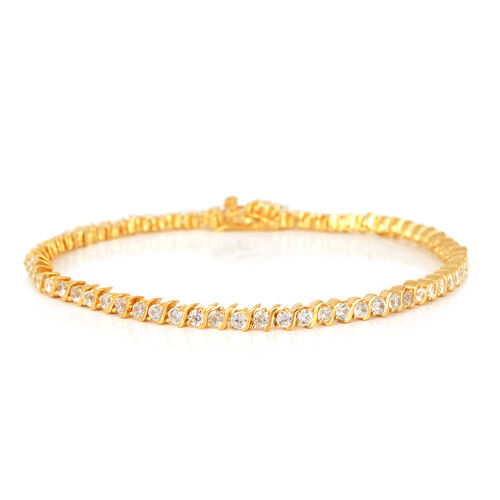 ELANZA AAA Simulated Diamond (Rnd) Bracelet in 14K Gold Overlay Sterling Silver (Size 8) (Sterling Silver Wt 8 grams Min)