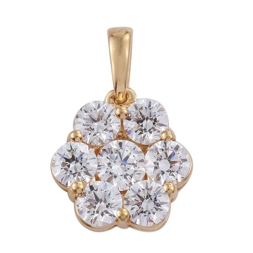 J Francis - 14K Gold Overlay Sterling Silver (Rnd) 7 Stone Floral Pendant Made with SWAROVSKI ZIRCONIA