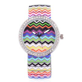 STRADA Japanese Movement Multi Colour Wave Pattern Dial with White Austrian Crystal Water Resistant Watch in Silver Tone with Stainless Steel Back and Oil Print Stretchable Strap