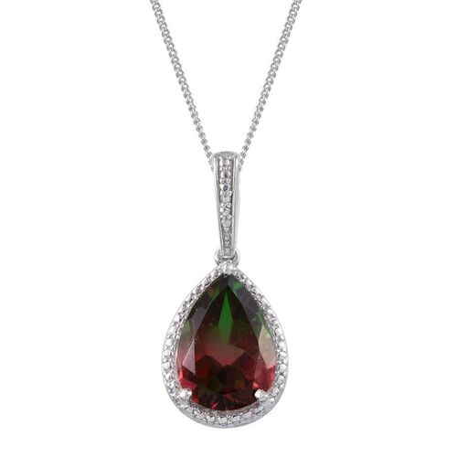 Tourmaline Colour Quartz (Pear) Solitaire Pendant With Chain in Platinum Overlay Sterling Silver 5.250 Ct.