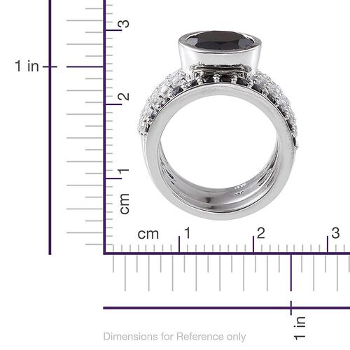 Boi Ploi Black Spinel (Rnd 6.00 Ct), White Topaz 3 Ring Set in Platinum Overlay Sterling Silver 8.750 Ct.