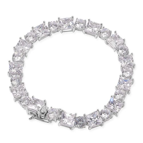 AAA Simulated White Diamond Bracelet in Sterling Silver (Size 7)