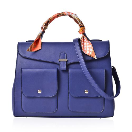 Navy Colour Large Tote Bag with External Pocket and Adjustable and Rmovable Shoulder Strap with Multi Colour Scarf (Size 35x28x16 Cm, 87x4 Cm)