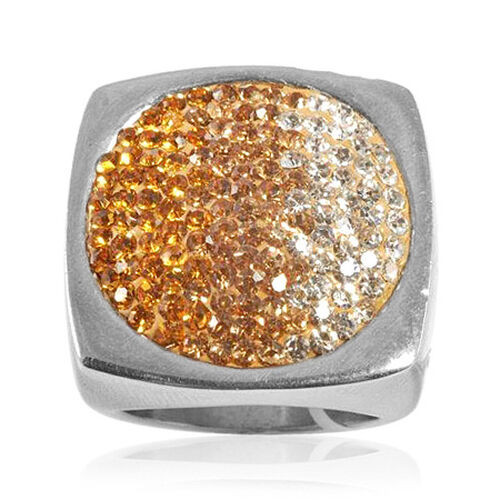 Yellow and White Austrian Crystal Ring in Silvertone