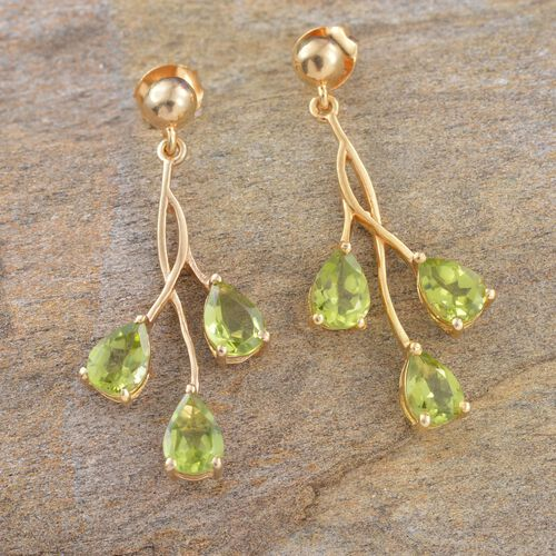 Designer Inspired- Hebei Peridot (Pear) Earrings (with Push Back) in 14K Gold Overlay Sterling Silver 4.750 Ct.
