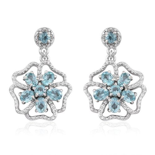 Paraibe Apatite (Ovl), Diamond Earrings (with Push Back) in Platinum Overlay Sterling Silver 2.270 Ct.