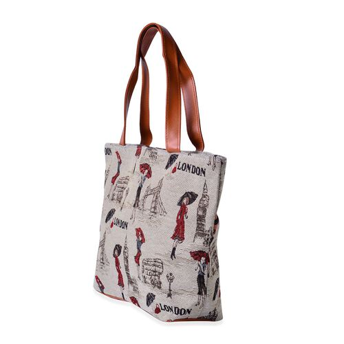 Set of 2 - Multi Colour Elephant Pattern and London Bridge, Girl Pattern Beige Colour Handbag (Size 45x30x10 Cm, 45x40x10 Cm)
